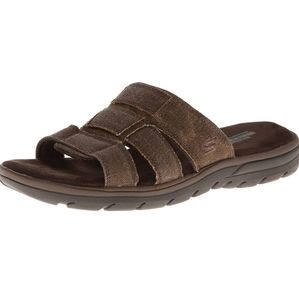 SKECHERS Relaxed Fit Canvas Gladiator Sandals Memory Foam 360 Casual Shoes Brown